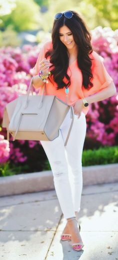 Neon Coral Top Outfit Idea by The Sweetest Thing
