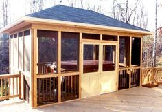 Here's a screened in covered deck built for a hot tub.