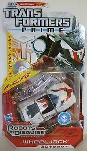 """Transformers Prime Wheeljack + Exclusive DVD by Hasbro. $15.95. Includes DVD with full TRANSFORMERS PRIME episode, """"Loose Cannons""""!. WHEELJACK figure converts from robot mode to sports car mode and back again!. Engage in secret missions with the elite warrior WHEELJACK!. Put the swords in his hands in robot mode, or on the front in sports car mode.. As a former member of The Wreckers, WHEELJACK is more than capable of taking care of himself. But he's glad to know that a..."""
