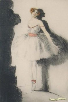 Ballerina In The Wings Artwork by Louis Icart Hand-painted and Art Prints on canvas for sale,you can custom the size and frame