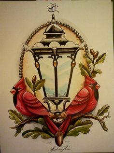 red cardinal tattoos   ink it up, lantern tattoo, red cardinal, tattoo flash - inspiring ...
