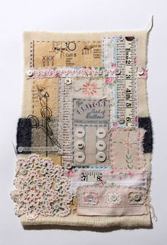 Art journal inspiration – collage vintage fabrics, laces, and more. The Purple T… – 2019 – Fabric Diy Art journal inspiration – collage vintage fabrics, laces, and more. Fabric Art, Fabric Books, Fabric Book Covers, Collage Vintage, Vintage Art, Fabric Journals, Stitch Book, Sewing Box, Art Journal Inspiration