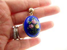 Cobalt Enamel Egg Locket  Floral  Vintage by VintageParis on Etsy