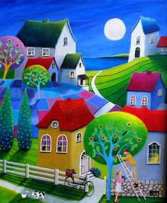 """""""Honey-Do"""" - by Iwona Lifsches -- another one where I made up the name (lol - this one is kinda corny, but I've been making up a bunch of them the past couple days and my tank of creative names is running on empty). Cottage Art, Naive Art, Colorful Paintings, Whimsical Art, Art Pictures, Painting & Drawing, Amazing Art, Folk Art, Art Drawings"""