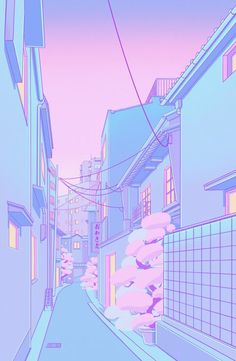 vaporwave pixel Osaka Morning Mini Art Print by Elora Pautrat - Without Stand - x Pastell Wallpaper, Cute Pastel Wallpaper, Scenery Wallpaper, Aesthetic Pastel Wallpaper, Kawaii Wallpaper, Aesthetic Backgrounds, Cartoon Wallpaper, Aesthetic Wallpapers, Marvel Wallpaper