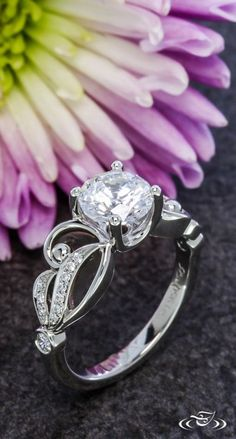 Curvy Engagement Ring. Green Lake Jewelry 108164