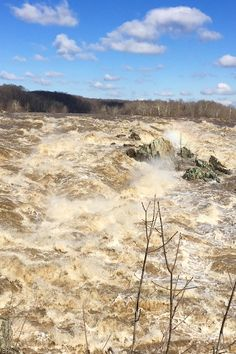 The Potomac River rages at Great Falls National Park, Virginia due to snow melt and rains. The estimated 875,220 gallons/sec flow rate is greater than Niagara's average.
