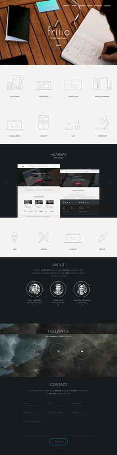 Clean responsive one page portfolio for French digital agency, Friiio. One of those one pagers that seems slick on first load but after some thought the portfolio items really need some links out, the hover to see service into isn't that helpful and I'm really not a fan of the crosshair cursor:/ Nice little touch with the subtle tilting logo animation, dig the preloader and the contact form is fresh.