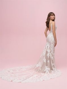 4b7f7a972ace Gorgeous low back wedding dress with delicate straps and a killer sheer  lace train! Fitted