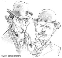 Jeremy Brett as Sherlock Holmes and Edward Hardwicke as Dr. Watson from the Granada TV series, illustrated at Tom's Mad Blog