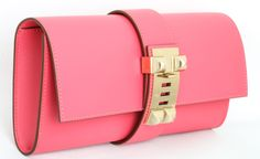Hermes Very Rare Medor Clutch Bag Rose Lipstick Pink | From a collection of rare vintage handbags and purses at http://www.1stdibs.com/fashion/accessories/handbags-purses/