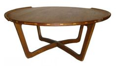 A round 1950's teak round coffee table with inset contrasting geometric wood blocks on the rim.