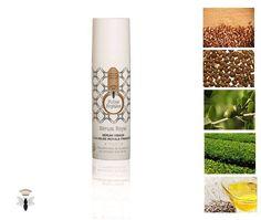 Sérum Royal, un véritable cocktail hydratant et revitalisant pour la peau :  huile végétale naturelle biologique de pépins de raisin, macadamia, jojoba, extrait de thé vert biologique et de graines de lin sont associés à la gelée royale, la nourriture exclusive de la reine !