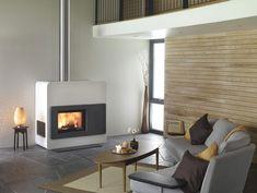 chimeneas modernas salon pared madera ideas