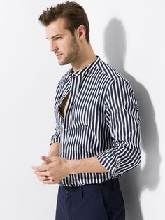 SLIM FIT STRIPED SHIRT WITH MANDARIN COLLAR - men - Massimo Dutti Dan Murphy