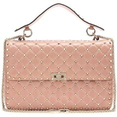 Valentino Rockstud Spike Quilted Leather Handbag (3 680 AUD) ❤ liked on Polyvore featuring bags, handbags, pink, red handbags, pink purse, man bag, red bag and purse bag