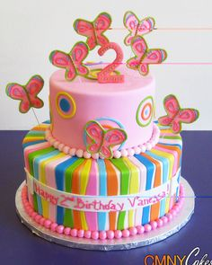 Pink Butterflies and Colorful Stripes Cake