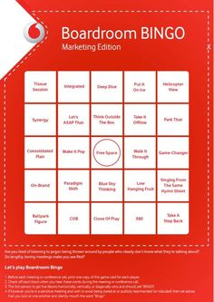 About to have a marketing meeting? Print out this boardroom bingo sheet and see if you can score in your marketing meeting. Box Park, Bingo Sheets, Free Space, Game Changer, The Outsiders, Let It Be, Marketing, How To Plan, Humor
