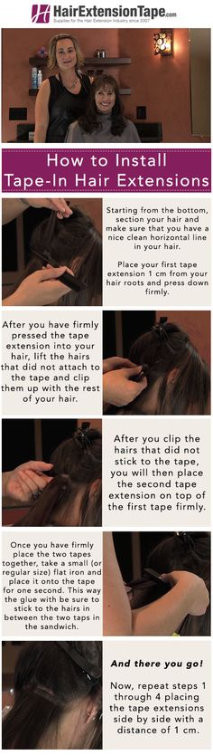Check out our infographic about how to install tape-in extensions! Click on it to see our blog! #hair #hairextensions #blog #hairtips #beauty