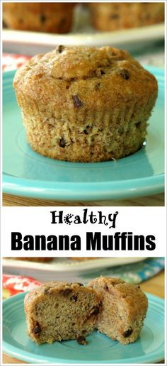 Yogurt, 100% whole wheat flour and sweet banana make this banana muffins recipe healthy...even if you opt for chocolate chips instead of nuts!