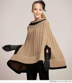 Handmade crochet poncho Made from wool and acrylic. Cable Knitting Patterns, Crochet Summer Tops, Crochet Winter, Ladies Poncho, Poncho Shawl, Knitted Poncho, Crochet Clothes, Ideias Fashion, Knitwear