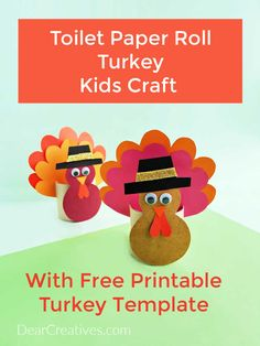 Toilet Paper Roll Turkey Craft - Are you ready to make Thanksgiving crafts with the kids? This comes with a free printable turkey template and instructions. Thanksgiving Crafts For Kids, Thanksgiving Activities, Printable Turkey Template, Free Printable, Glue Crafts, Book Crafts, Craft Kits For Kids, Art For Kids, Turkey Craft