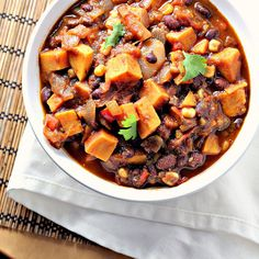 This recipe is really similar to my Chili recipe, but uses potatoes instead of meat. Other than that it contains pomegranate juice, all else is equal.