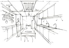 The first sketch of the kitchen before colour was added.