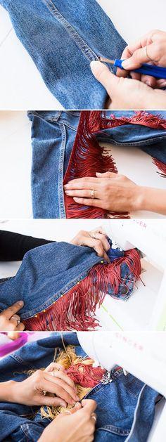How to add fringe to a jean jacket. A step DIY fashion project. #fashion #clothing #jacket #jeanjacket #fringe