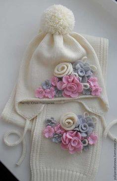 Купить Вязаный комплект из мериносовой шерсти - белый, однотонный, Вязаный комплект, вязание на заказ