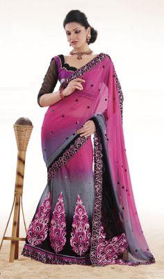 India: Lehenga. the lehenga and the saree look almost identical, but the lehenga is 3 separate pieces (the blouse, the skirt and the scarf) the scarf is called a dupatta