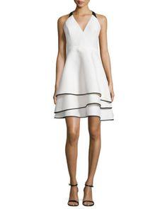 HALSTON HERITAGE Tiered-Skirt Contrast Crepe Dress, Light Purple. #halstonheritage #cloth #