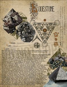 Lodestone (Magnetite), Book of Shadows printable page. Wiccan Spells, Magick, Witchcraft, Crystal Magic, Crystal Healing, Crystals And Gemstones, Stones And Crystals, Alchemy, Grimoire Book