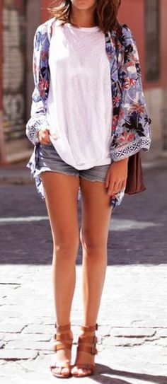 Rock a colorful printed kimono over a casual jean shorts and tee pairing to update your summer weekend look. ♠ re-pinned by  http://www.wfpcc.com