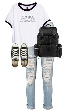"""Untitled #9850"" by alexsrogers ❤ liked on Polyvore featuring Boohoo, H&M, Converse and Burberry"