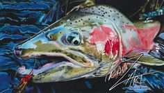 """Goliath"" Colored pencil drawing by Travis J.Sylvester. A winter run Steelhead from the N. Umpqua River. Reference photo courtesy of Bryan Huskey"