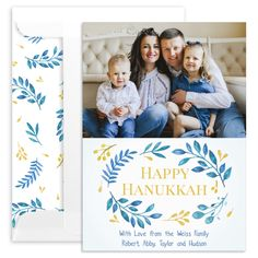 Personalized Blue Botanical Hanukkah Photo Cards