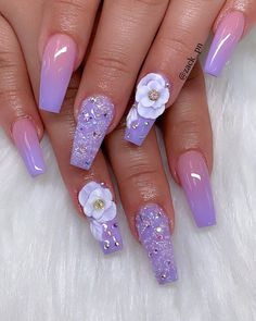 Spectacular Nail Design Ideas To Try Asap - Nail designs or nail art is a very simple concept - designs or art that is used to decorate the finger or toe nails. They are used predominately to en. Purple Acrylic Nails, Summer Acrylic Nails, Best Acrylic Nails, 3d Nail Designs, Cute Acrylic Nail Designs, Art Designs, Nagellack Design, Party Nails, Fire Nails