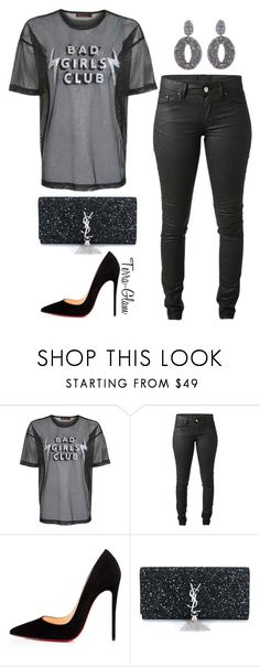 """Bad Girls Club"" by terra-glam ❤ liked on Polyvore featuring Topshop, Acne Studios, Christian Louboutin, Yves Saint Laurent and Oscar de la Renta"