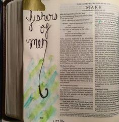 Mark 1:17 bible journaling Bible Study Journal, Journal Quotes, Scripture Study, Bible Art, Healing Bible Verses, Biblical Quotes, Mark Bible, Word Doodles, Gospel Bible