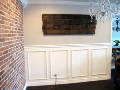 brick and wainscoting wall. My parents had this look in their den in the 1970s!  What goes around...