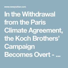 In the Withdrawal from the Paris Climate Agreement, the Koch Brothers' Campaign Becomes Overt - The New Yorker