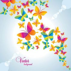 colorful images of butterflies | Colorful butterfly background vector 2 Vector background - Free vector ...