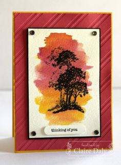Stampin' Up! Serene Silhouettes thnking of you card using embossing and watercolour wash background. Claire Daly, Stampin' Up! Demonstrator Melbourne Australia. #stampinup #stampinupaustralia #watercolouredcards
