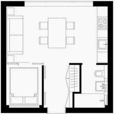 18 ideas landscape design plans garage for 2019 Apartment Plans, Apartment Design, Cabin Plans, Shed Plans, Small Apartments, Small Spaces, Small Houseboats, Studio Floor Plans, Mini Loft