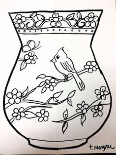 The Lost Sock : Chinese Flower Vase Art Drawings For Kids, Drawing For Kids, Art For Kids, Paisley Flower Tattoos, Chinese Christmas, Printable Flower Coloring Pages, Chinese Crafts, Pyrography Patterns, Chinese Flowers