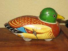 Duck Mallard 1950s Vintage Wind-up Tin Litho Toy Japan