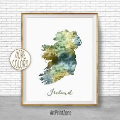 Ireland Map Art Ireland Print Watercolor Map Map Painting Map | Etsy South Africa Art, Africa Map, Canvas Wall Collage, Wall Art Prints, Ireland Map, Map Artwork, Design Food, Map Painting, Watercolor Map