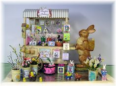 DYI DOLLHOUSE MINIATURES: BASKETS AND BUNNIES....AN EASTER PEDDLER'S CART...SCROLL DOWN-NEW CART PROJECTS ADDED DAILY