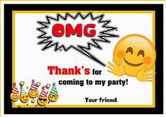 Emoji Thank you Cards – Birthday Printable